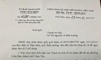 vinh yen vinh phuc cham tre xu ly vu sai pham dat dai tai phuong lien bao chu tich tinh chi dao lam ro