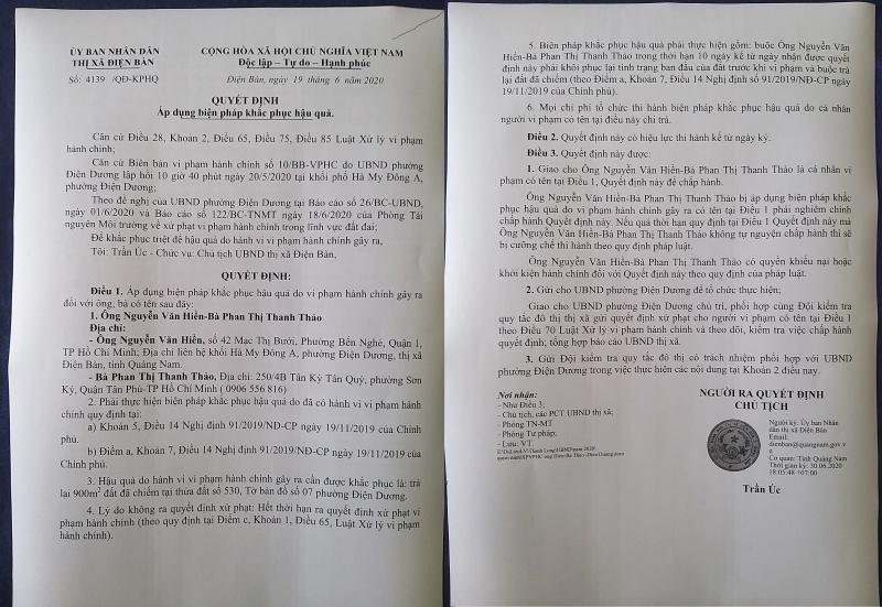 Quảng Nam: Chính quyền Điện Bàn buộc nhà hàng dịch vụ Hà My khôi phục tình trạng ban đầu của đất