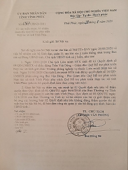 vinh phuc dau hieu vuot tham quyen vi pham nghiem trong trong cong tac can bo tai lien minh hop tac xa