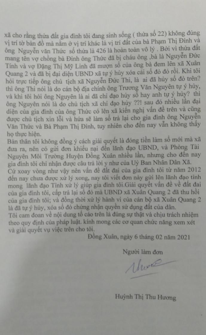 dong xuan phu yen dan to cao chu tich ubnd xa thuc hien khong dung trach nhiem ve quan ly dat dai