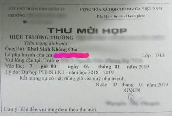 gui thu moi hop phu huynh hoc sinh khai sinh khong cha gay phan no co giao den nha de xin loi