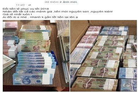 Xử phạt việc kinh doanh đổi tiền mới, tiền lẻ trên mạng