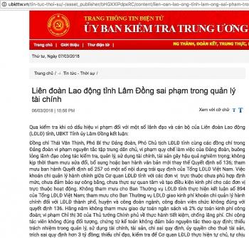 ky luat pho bi thu dang doan pho chu tich ldld tinh lam dong vi sai pham trong quan ly tai chinh