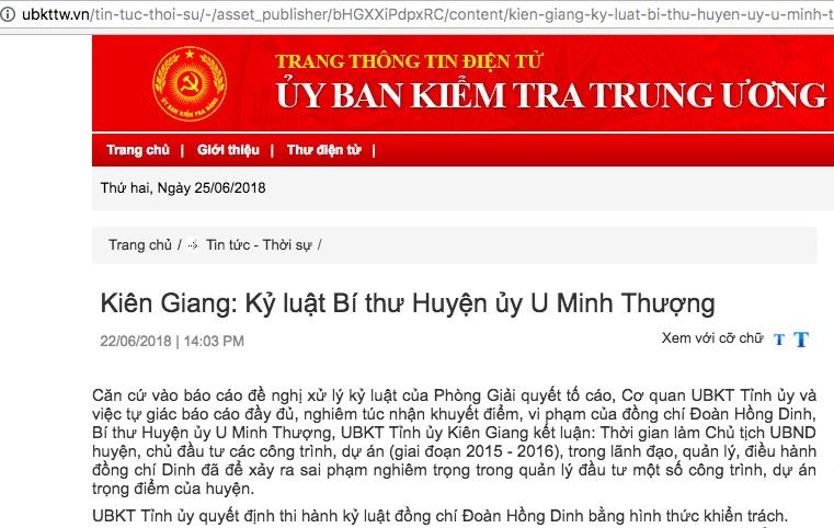 Kiên Giang: Kỷ luật Bí thư Huyện ủy U Minh Thượng