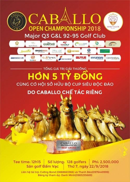 Caballo Championship 2018 dự kiến thu hút sự tham gia của 128 golfer trên toàn quốc