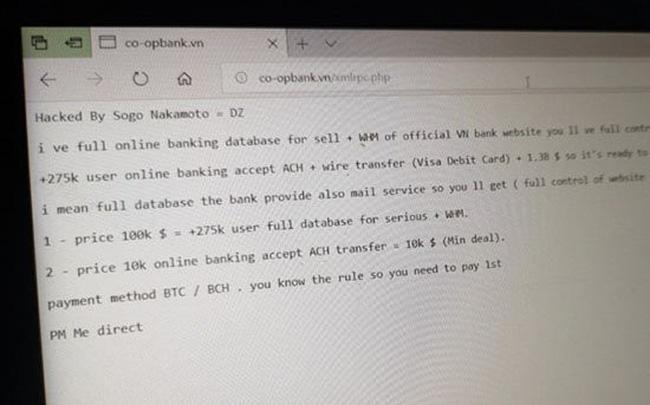 Ngân hàng Hợp tác xã Việt Nam nói gì về việc bị hacker tấn công website, đòi tiền chuộc?