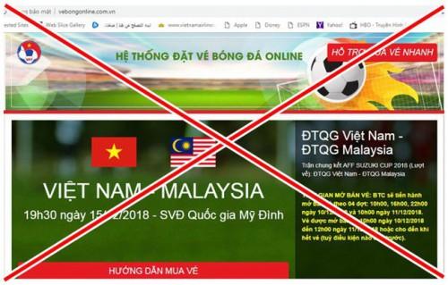 Phát hiện trang web giả bán vé online trận chung kết lượt về AFF Cup 2018