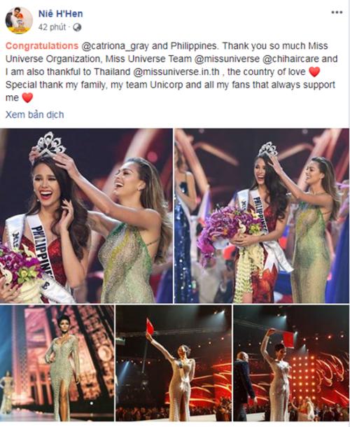 Vào Top 5 Hoa hậu Hoàn vũ, H'Hen Niê có chia sẻ đầu tiên trên trang cá nhân