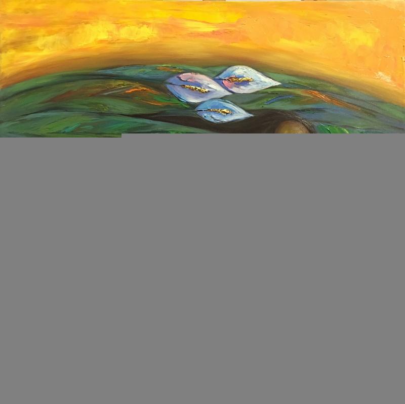 hoa si nguyen hien va nhung buc tranh mang nang luong hanh phuc