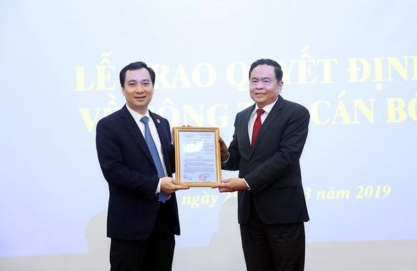 Bổ nhiệm Trưởng Ban Tuyên giáo Ủy ban Trung ương MTTQVN