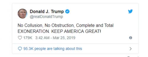 Tổng thống Trump nói gì sau khi được kết luận không thông đồng với Nga?