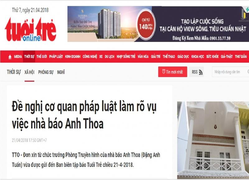 Vụ lùm xùm tại báo Tuổi Trẻ: Nhà báo Anh Thoa xin từ chức