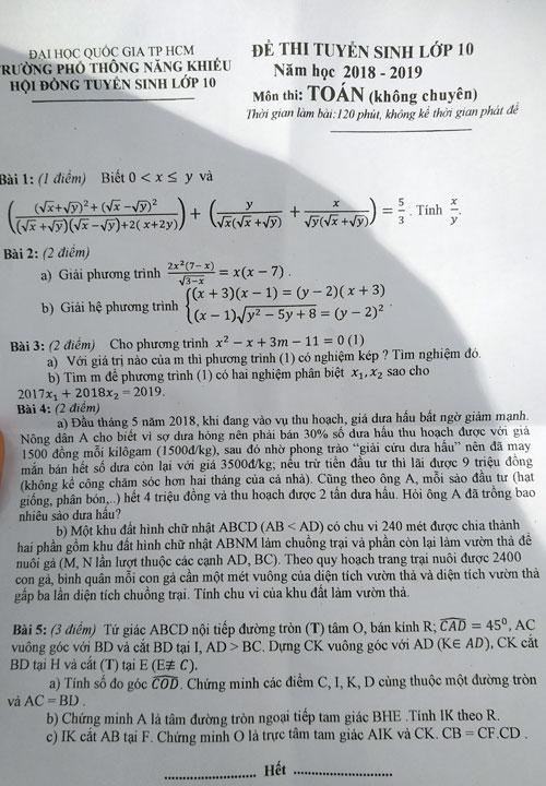 Chuyện 'giải cứu dưa hấu' được đưa vào đề thi toán Phổ thông Năng khiếu TPHCM
