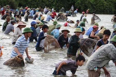 Nhộn nhịp cảnh cả trăm người lao xuống đầm bắt cá cầu may ở Hà Tĩnh