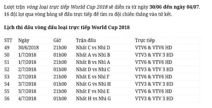 lich thi dau chinh thuc vong chung ket world cup 2018
