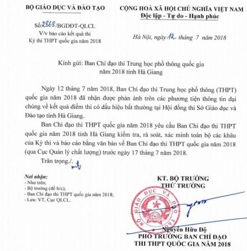 Vụ điểm thi THPT Quốc gia có dấu hiệu 'bất thường' ở Hà Giang: Bộ GD-ĐT yêu cầu xác minh