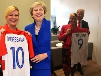 doi tuyen quoc gia lot vao chung ket world cup tong thong va bo truong croatia mac ao doi nha di du hop