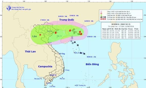 Bão số 4 có khả năng mạnh thêm hướng vào vùng biển Quảng Ninh - Nam Định