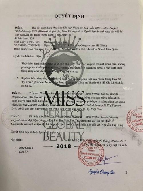 Thư Dung bị tước danh hiệu Hoa hậu sắc đẹp hoàn mỹ toàn cầu 2017