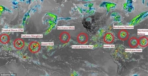 9 cơn bão cùng lúc trên khắp Trái Đất, chuyên gia cảnh báo thời tiết bất thường