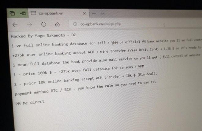 Một ngân hàng Việt bị tấn công, hacker 'dọa' bán 275.000 dữ liệu