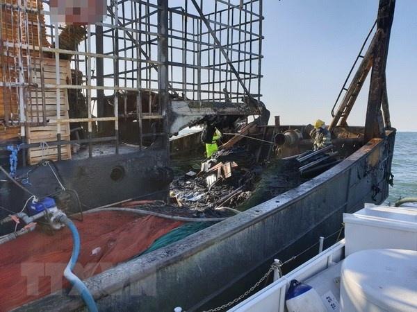 Cháy tàu cá Hàn Quốc: Hỗ trợ hai thuyền viên Việt Nam gặp nạn
