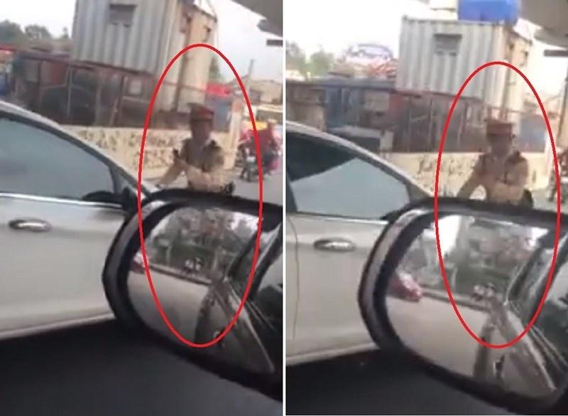 Nữ tài xế vượt đèn đỏ còn tông thẳng xe vào CSGT tại Hà Nội