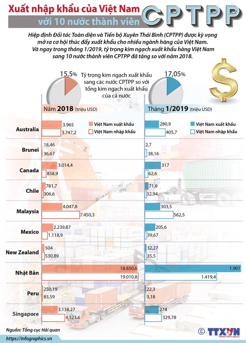 [Infographics] Xuất nhập khẩu Việt Nam với 10 nước thành viên CPTPP