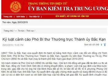 ky luat canh cao pho bi thu thuong truc thanh uy bac kan