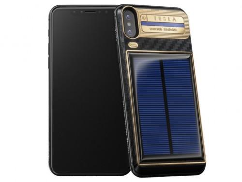 iPhone X Tesla được trang bịnăng lượng mặt trời để sạc pin cho điện thoại