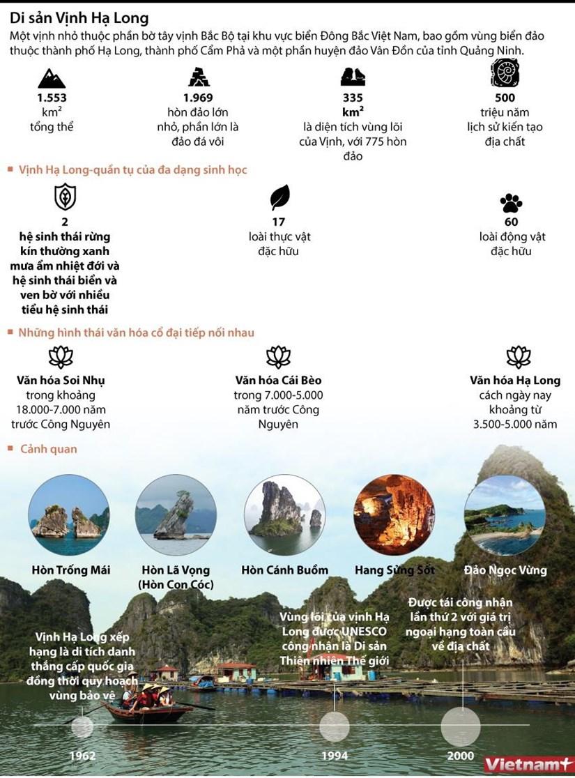 [Infographics] Vịnh Hạ Long - 2 lần được công nhận là Di sản thế giới