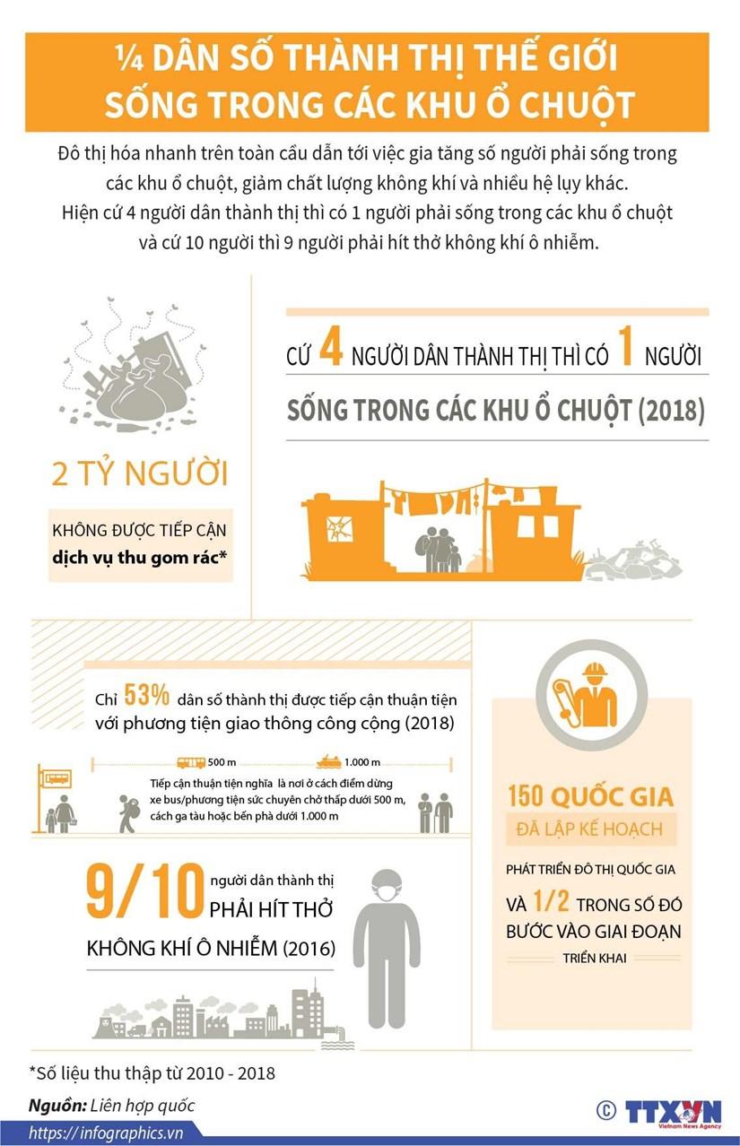 [Infographics] 1/4 dân số thành thị thế giới sống trong khu ổ chuột