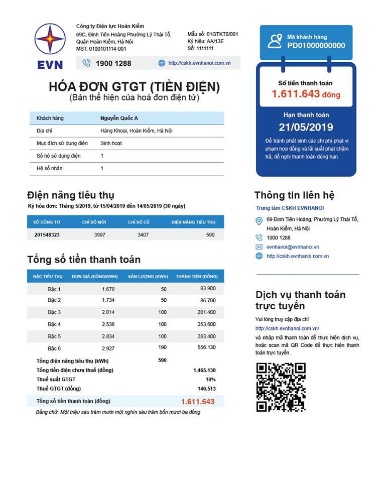 EVN công bố kết quả bình chọn mẫu hoá đơn tiền điện mới
