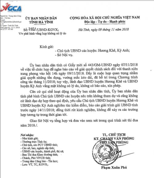 Hà Tĩnh: Chủ tịch UBND huyện Kỳ Anh và Hương Khê bị yêu cầu giải trình vì vắng họp không lý do