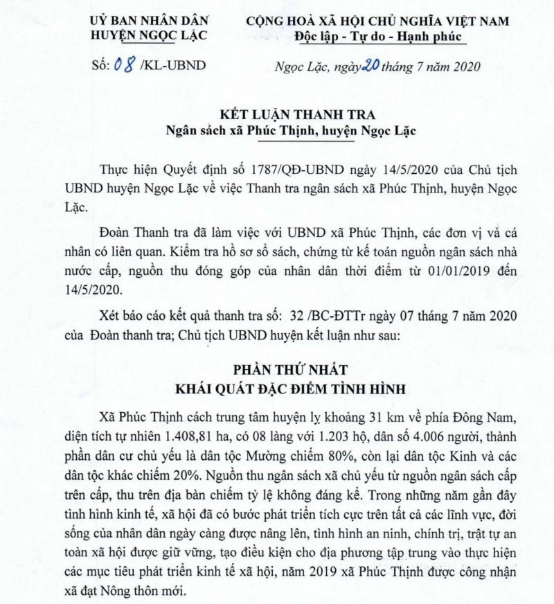 Ngọc Lặc (Thanh Hóa): Tràn lan sai phạm trong quản lý, sử dụng ngân sách tại xã Phúc Thịnh