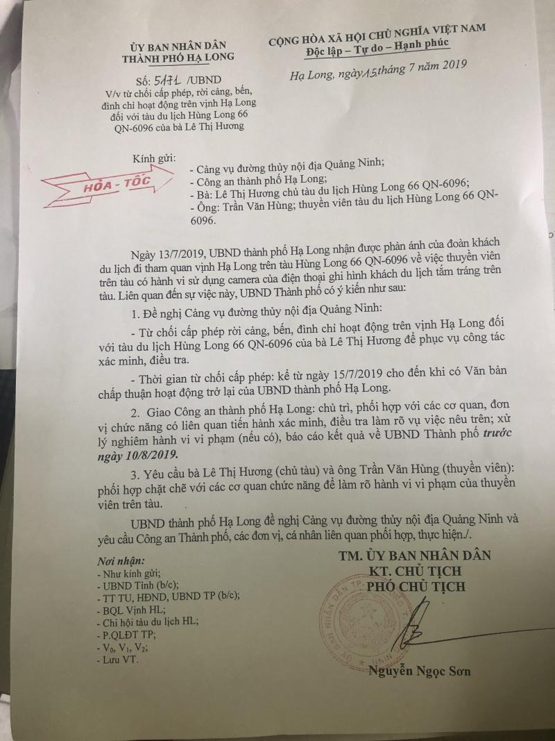 Quảng Ninh: Đặt camera quay lén du khách tắm, một tàu du lịch bị đình chỉ hoạt động