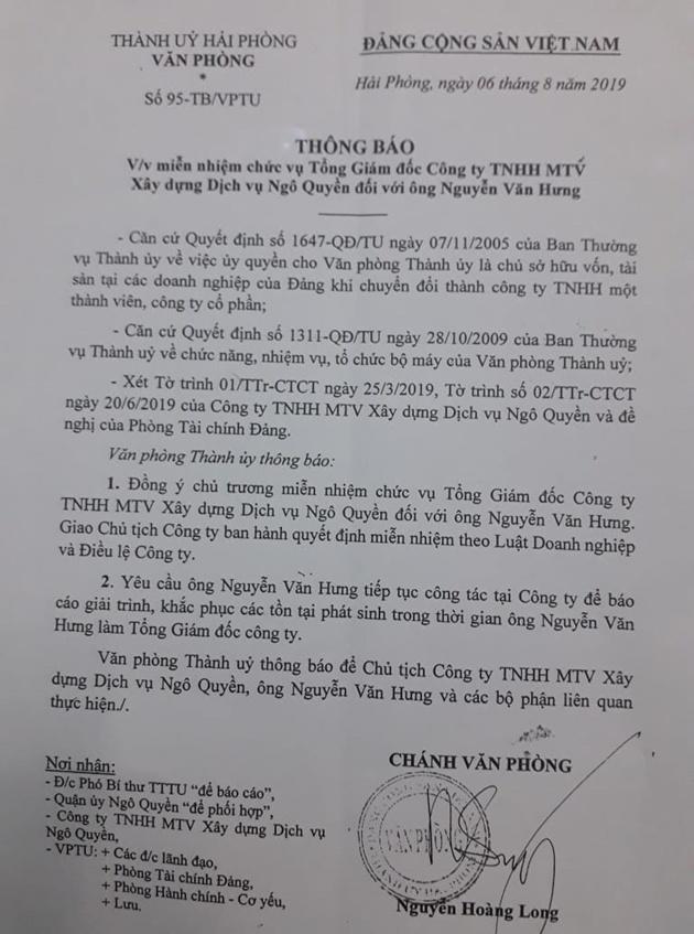Vụ văn Phòng Thành ủy Hải Phòng chưa cho Tổng Giám đốc Công ty Ngô Quyền nghỉ việc: Miễn nhiệm  chức Tổng Giám đốc đối với ông Nguyễn Văn Hưng