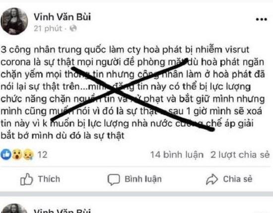 """Quảng Ngãi: Xử lý người tung tin """"3 công nhân Hòa Phát bị nhiễm Corona""""."""