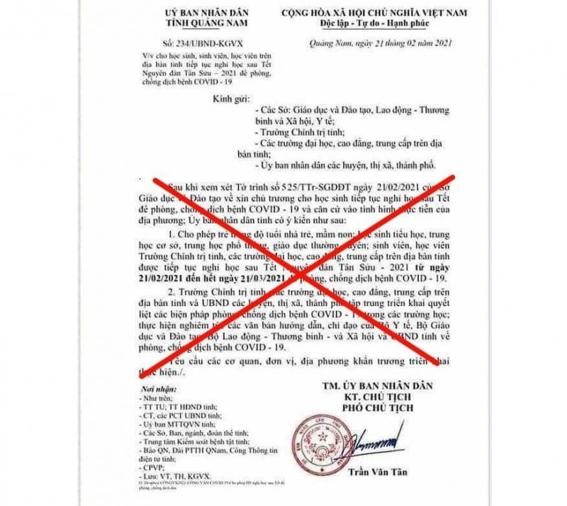 Quảng Nam: Xuất hiện văn bản giả mạo cho học sinh nghỉ học đến hết ngày 21/3