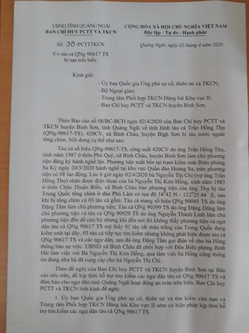 Quảng Ngãi: Trung Quốc đã trao trả 8 ngư dân bị đâm chìm gần đảo Phú Lâm