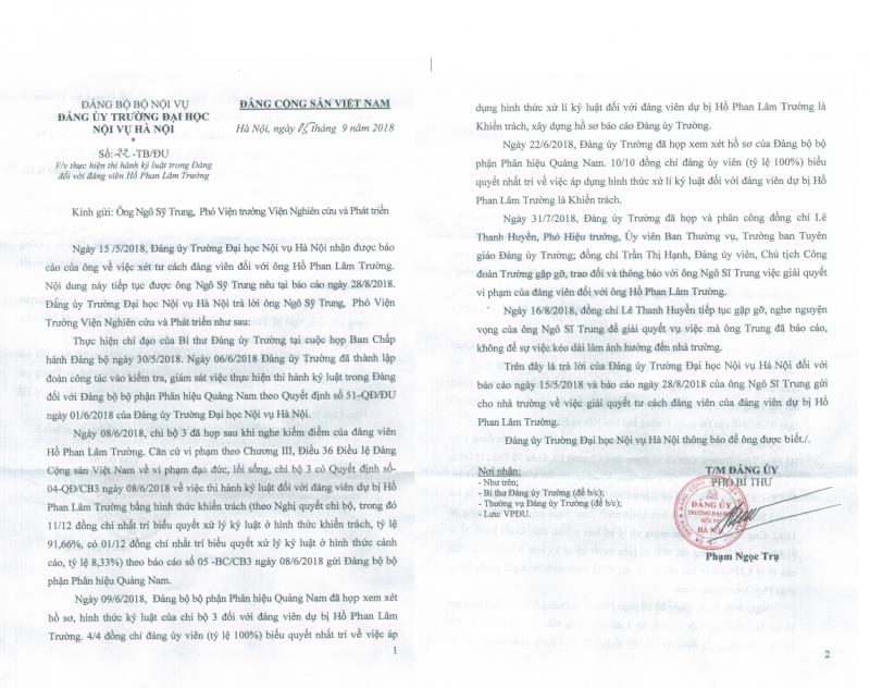 Ông Hồ Phan Lâm Trường có được chuyển Đảng chính thức trong thời gian đang bị điều tra về hành vi đe dọa giết người ?