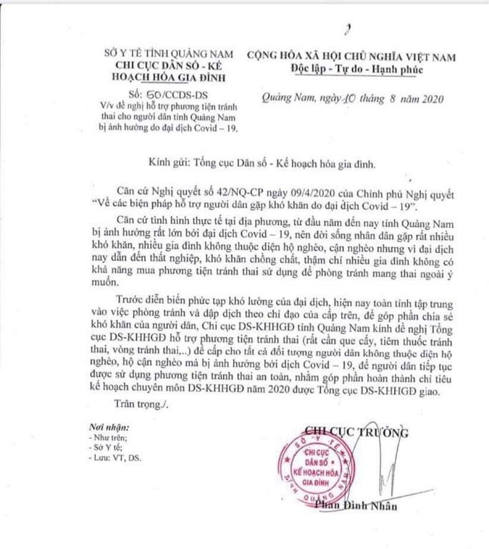 Quảng Nam: Yêu cầu thu hồi văn bản xin phương tiện tránh thai trong mùa dịch Covid-19