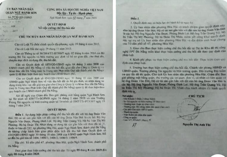 Đà Nẵng: Quận đã thu hồi đất 3 năm, Tòa vẫn hòa giải chia lô