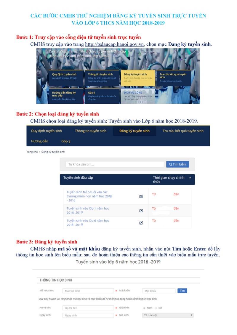 Hướng dẫn cách đăng ký trực tuyến tuyển sinh lớp 1, lớp 6
