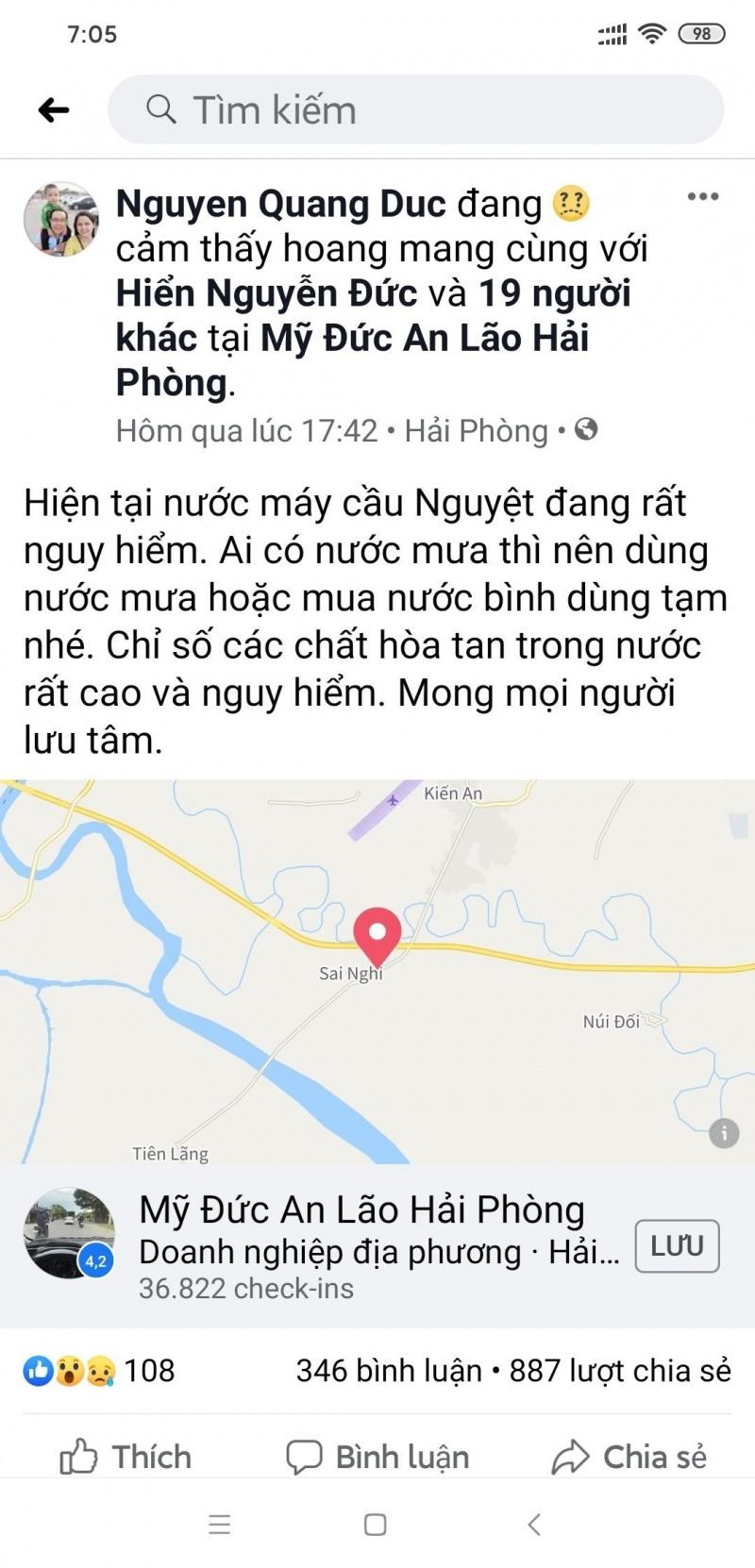 """Hải Phòng:  Xử lý vụ việc đăng tải thông tin """"nước máy cầu Nguyệt đang rất nguy hiểm"""" trên Mạng xã hội"""