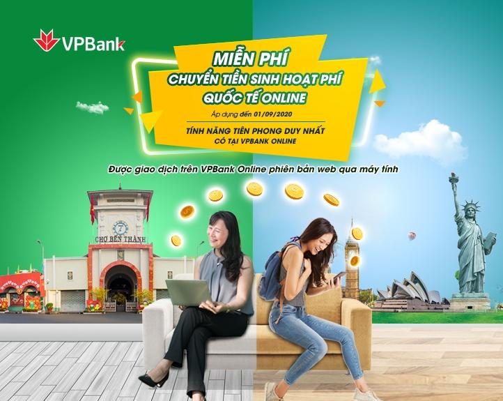 VPBank miễn phí chuyển tiền sinh hoạt quốc tế cho du học sinh trên ứng dụng VPBank Online