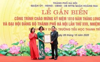 le gan bien cong trinh truong tieu hoc thanh tri chao mung ky niem 1010 nam thang long ha noi