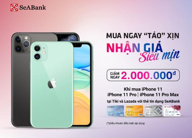 Mua iPhone với giá siêu ưu đãi trên Tiki, Lazada bằng thẻ SeABank