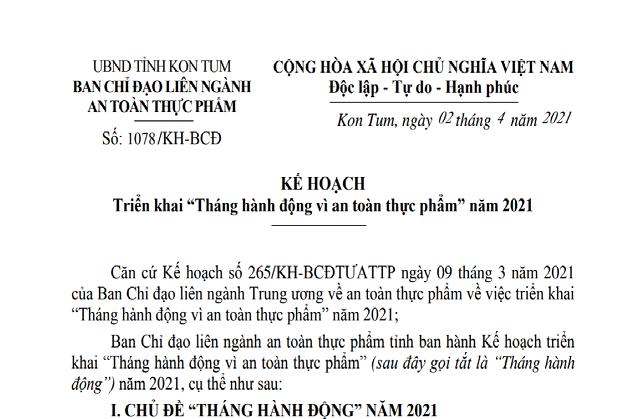 kon tum trien khai ke hoach thang hanh dong vi an toan thuc pham