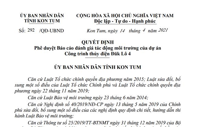 Kon Tum: Phê duyệt Báo cáo đánh giá tác động môi trường của dự án Công trình thủy điện Đăk Lô 4